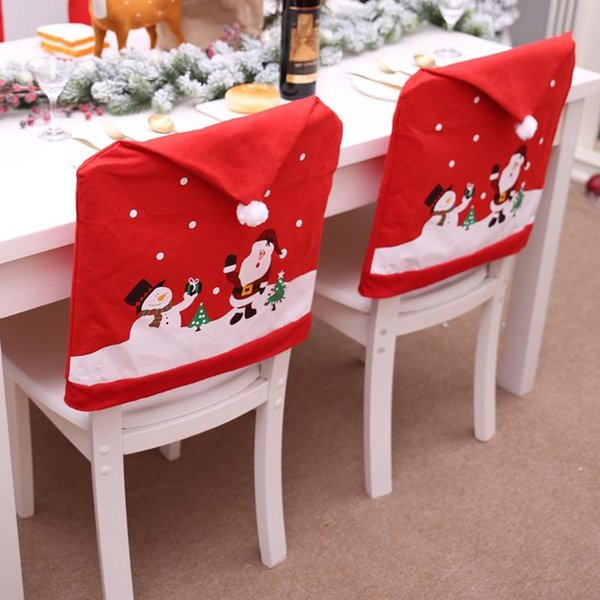Christmas Chairs Cover Santa Claus Cap Non-woven Dinner Table Red Hat Chair Back Covers Xmas Christmas Decorations for home free shipping