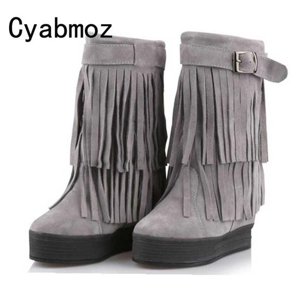 Frauen-mittler-Kalb-echtes Leder-Wildleder-Fringe-Schneestiefel-Aufzug-weibliche Quasten-Stiefel-Höhe, die 12cm Plüsch-warme Schuhe erhöht