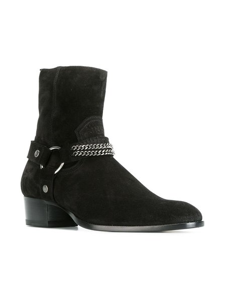 Fashion Genuine leather Wyatt Western Boots Metal Chain For Men Flats Korean Style Ankle Boots Suede Factory Real Pics Big Size Euro 46