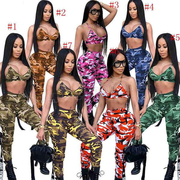 Camo Sexy Duas Peças Set Streetwear Roupas de Verão Top Colheita e Calças Ternos Conjuntos de Combinação 2 pcs Mulheres Camuflagem Treino MMA206
