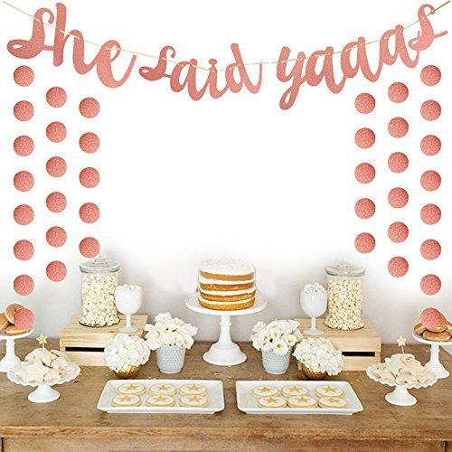 She Said Yaaas Bachelorette Party Banner -Rose Gold Engagement Party Decoration And Bridal Shower Sign