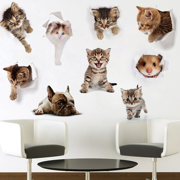Creative Cute Cartoon Cat Dog Wall Sticker Lovely Toilet Sticker Kitchen Cabinet Switch PVC for Home Decoration Wall Art
