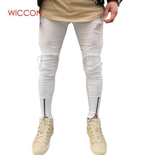 Men Ripped holes jeans Zipper skinny biker jeans black white with Pleated patchwork slim fit hip hop men pants
