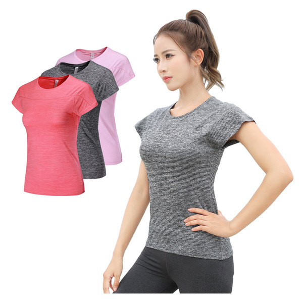 Women Training Shirts Short Sleeve Yoga Jerseys T Shirt Running Jogging Tops Solid Color Compression Quick Dry Tees Summer Woman