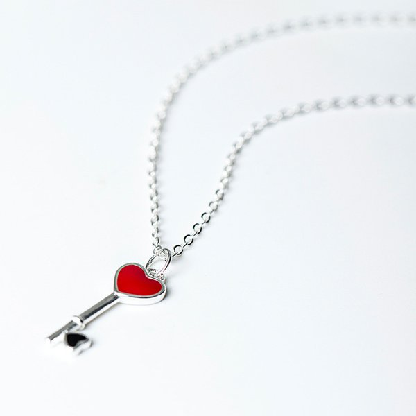 Charms 925 sterling silver Korean key pendant love necklace short chain clavicle red fashion sets jewelry gift women china direct