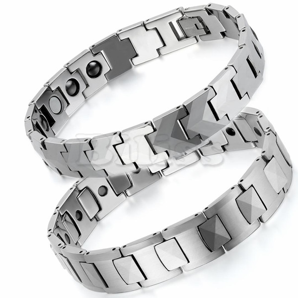 Black carbon fiber Bracelet Magnetic Stone Therapy Health Stainless Steel Bracelet Men's Jewelry 22.5*11mm pulseira masculina