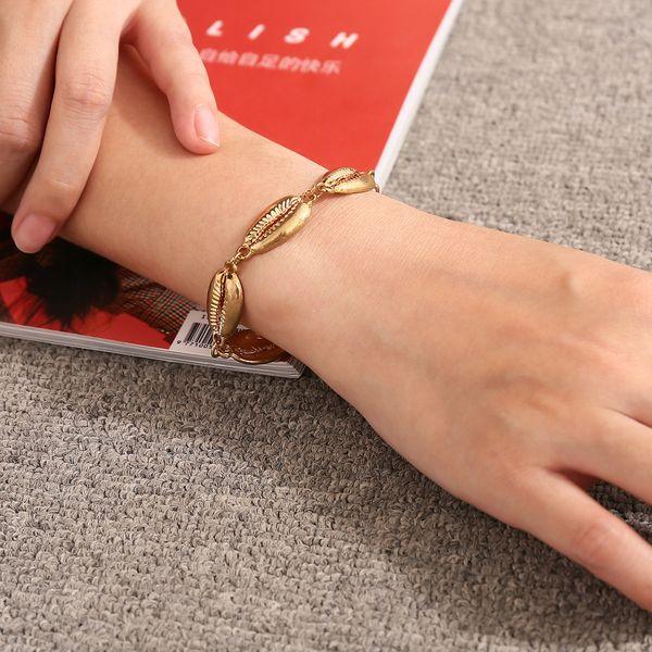 2018 nuevas conchas forma pulsera de cadena de oro pulsera de concha de moda para mujeres simple verano playa regalo de la joyería de vacaciones para niñas