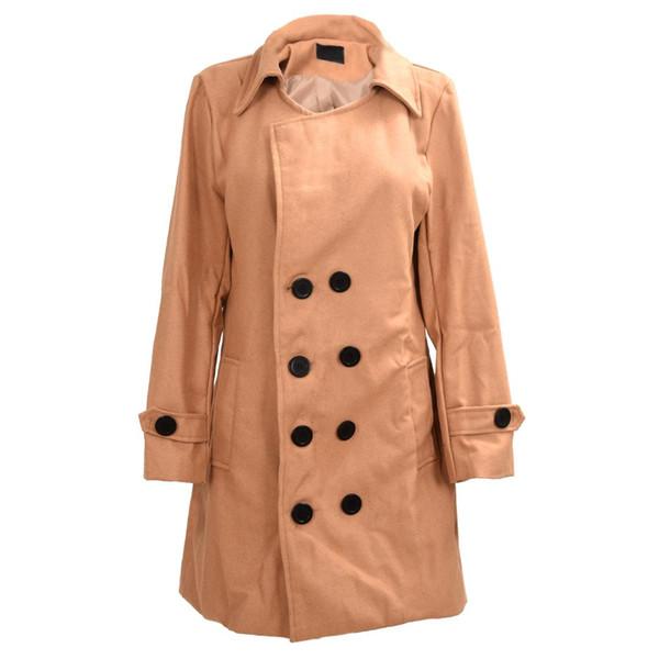 Abrigo de doble botonadura delgado con estilo de los hombres Abrigo de invierno caliente largo tan claro