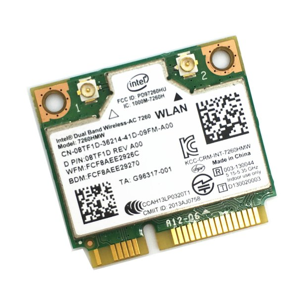 Wireless Wifi Card Dual Band For Intel 7260 AC 7260HMW Mini PCI-E 867Mbps 802.11ac 2.4G/5Ghz Bluetooth 4.0 For Laptop