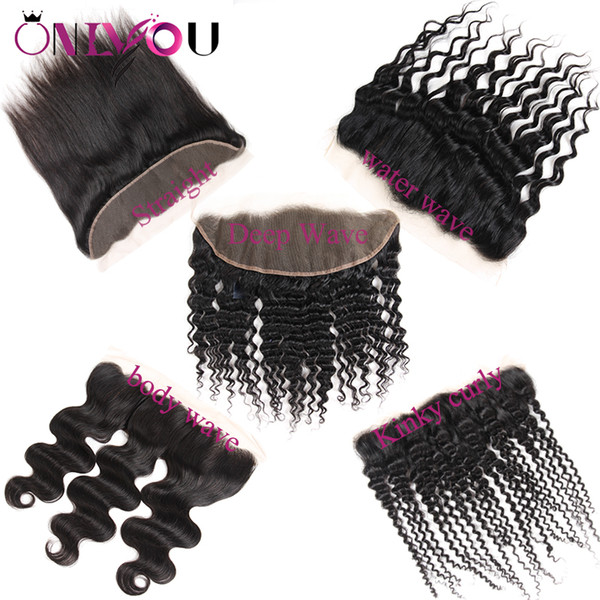 Onlyou Hair® Brazilian Virgin Hair Vendors Body Wave 13x4 Lace Front Closure Straight Deep Wave Kinky Curly Brazilian Lace Frontal Bundles