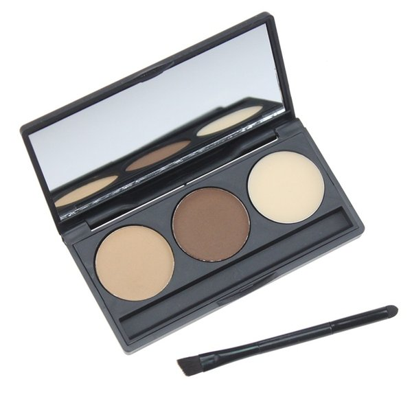 3 Color Eyebrow Powder Palette Cosmetic Brand Eye Brow Enhancer Professional Waterproof Makeup Eye Shadow With Brush Mirror Box