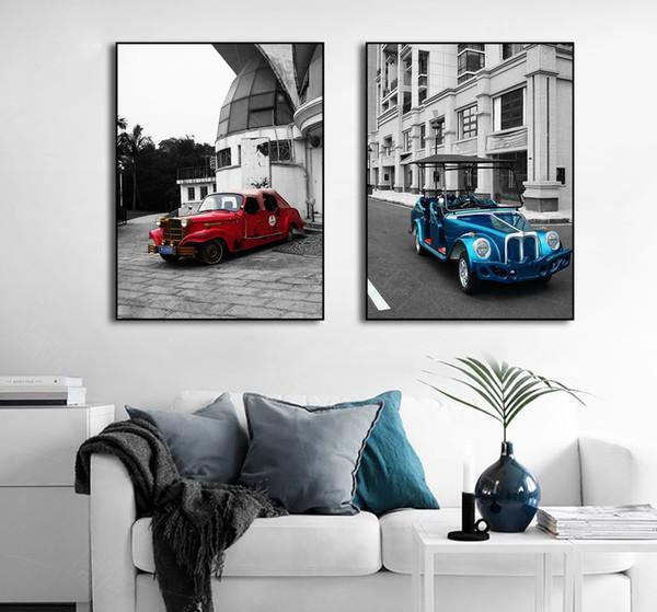 Acheter La Vie Moderne Nordique Photo Rouge Bleu Voiture Bâtiment Peinture  Sur Toile Chambre Décoration Sans Cadre Impression Affiche Mur Art De ...
