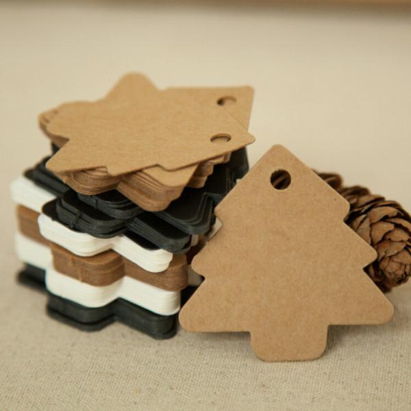 50pcs 5.5*5.4cm DIY Kraft Christmas Tree Shape Hang tag Christmas Party Deco Paper Cards Gift tag