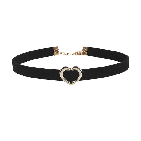 FUNIQUE Vintage Heart Black Collar Neck Wild Temperament Choker Necklace Chain Sexy Round Clavicle Cowboy Accessories Jewlery