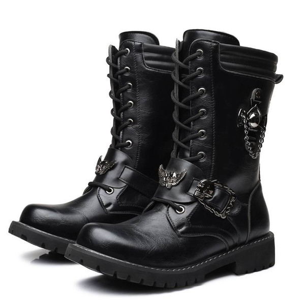 Novo Designer Homens Moda Preto Bota Lace Up Charme Martin Bota de Lazer Trabalho Segurança Motocicleta Bota Homem Sapatos Meia Metade Zapatos 37-45