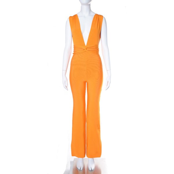 Orange Color Ladies HL Bandage Jumpsuits Sexy V-Neck Bodycon Jumpsuits Rayon Celebrity Fashion Wear