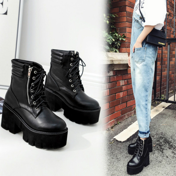 Women RomanHigh Heels Platform Lace Up Leather Short Booties Black Side Zippers CasualAnkle Boots