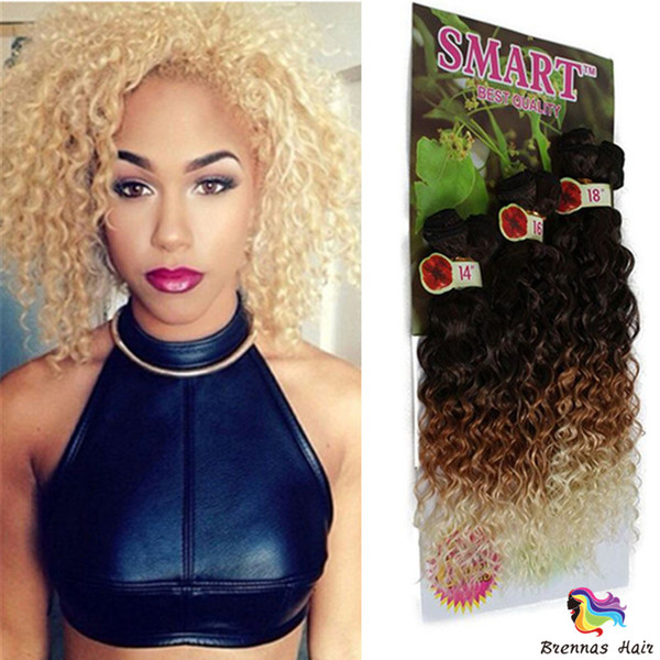 2018 Noble Gold Hair Extensions Curly Synthetic Weave Bundles Sew in Weave Hair Weave Extension 6 Bundles Ombre Synthetic Hair for African