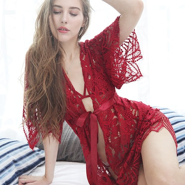 Lady Nightdress Set Sexy Irregular Eyelash Lace Perspective Lingerie Bikini Bra Panty Nightgown 3 Pieces Set Women Sleepwear