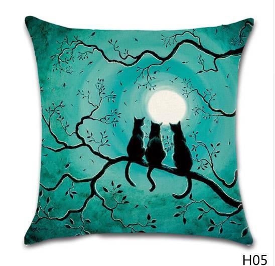 Halloween Cotton Linen Pillow Case Castle Pumpkin Cat Printed Decorative Pillow Cover Seat Pillowcase