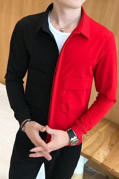 Black Red Jacket Designer Party Club Fashion Slim Fit 2017 New Mens Autumn Jacket Outfit Men Contrast Color Casaca Hombre S-3XL