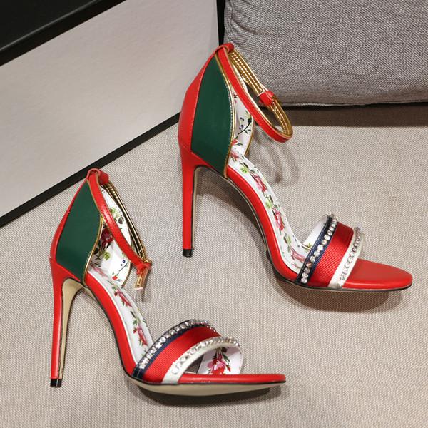 Heißer Verkauf Mädchen Mode Stiletto Strass Bowtie High Heel Sandaletten Femal Mischfarbe Elegent Leder Abdeckung Ferse Sexy Blume Sandalen