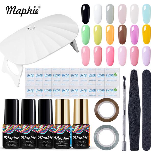 Maphie 11Pcs/Lot 6W Led Lamp Nail Dryer Nail Art Gel Polish Set 6 Led USB Cable Cure UV Lamp Cure Machine Base Top Coat Kit