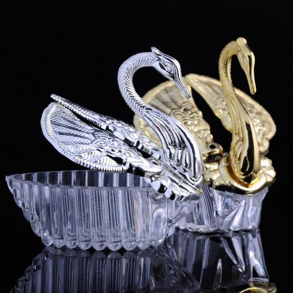 Envío gratis Estilos europeos de acrílico de plata cisne dulce regalo de boda caja de dulces del caramelo cajas de regalo de la boda favores de la boda titulares