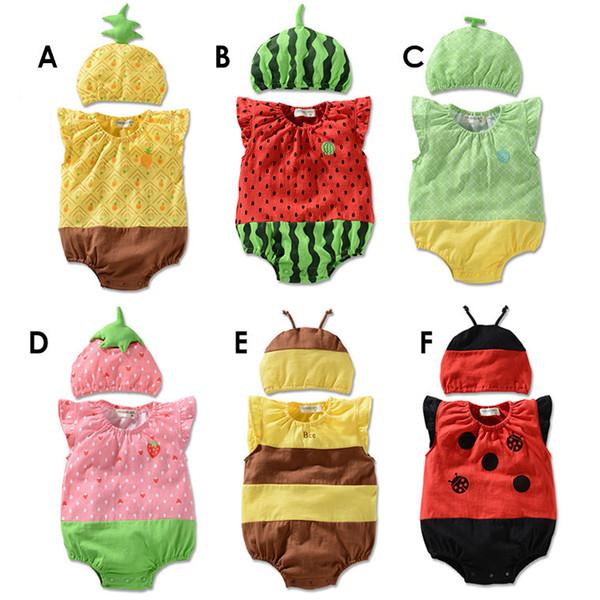 Neugeborenes lustiges Baby-Karikatur-Karikatur-Spielanzug-Sleeveless Sommer-Baby-Jungen-Klage-Kleidung Erdbeerbienen-Spielanzug-kletternde Kleidung