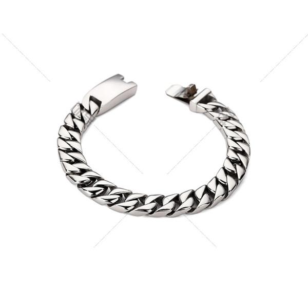 316L Stainless Steel Silver Color Bracelets Round Curb Cuban Chains Bracelets for Men Mens Bracelet Chain Fashion Jewelry