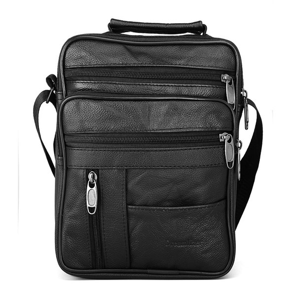 871c4e83daa5 Vintage Real Cowhide Leather Men backpack Black Male Messenger Bags Men s  Small Strap Adjustable handbag Man Crossbody Bags