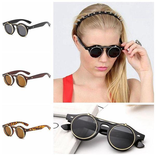 10201cd3c96f Flip Up Lens Steampunk Vintage Retro Round Sunglasses Gothic Eyewear UV400  Punk Glasses Retro Goggles LJJO4660