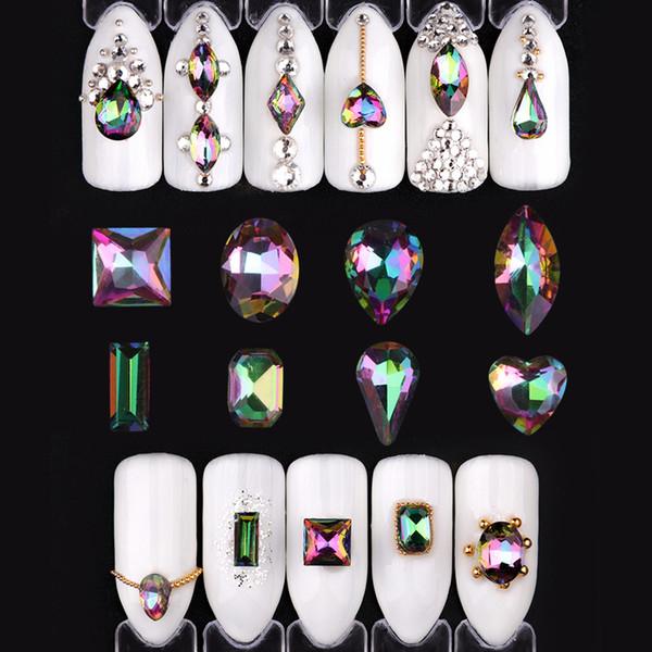 Sanat Rhinestones Süslemeleri Için 10 adet Kristal ab Rhinestones Çivi Alev Retro Tasarımlar Su Damlası 3d Nail Art Süslemeleri Nail ...