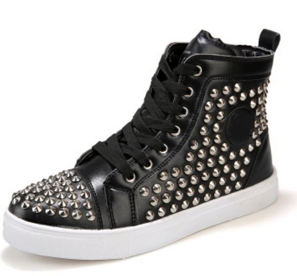 black Cow Leather rivet rubber Bottom Luxury Party Wedding Shoes,Genuine Leather high-end Spikes Lace-up Casual Shoes flat shoesUS6.5-12 n45