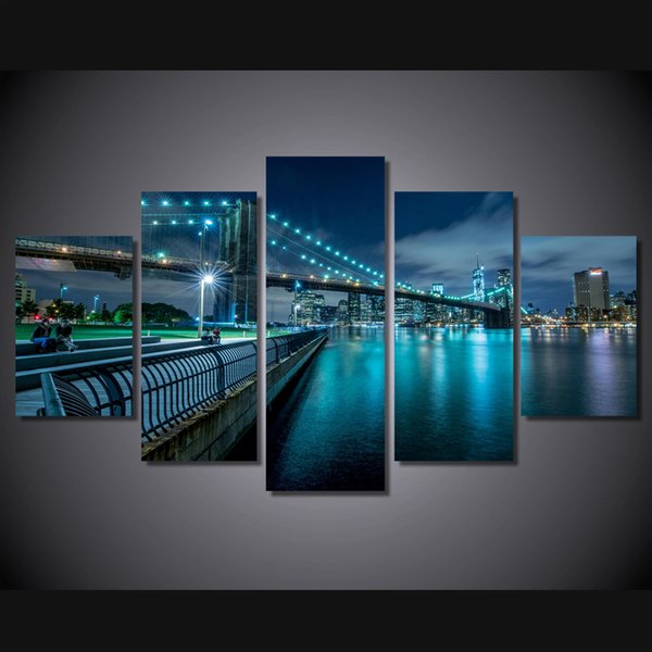 5 Piece Framed HD Printed new york city bridge Still Life Canvas Painting Wall Art Picture Home Decor For Linving Room