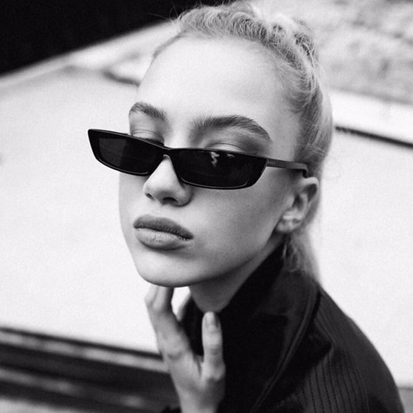 [EL Malus] Small Retro Square Thin Frame Sunglasses UV400 Women Sexy Ladies Sun Glasses Female Yellow White Black Lens Mirror SG068