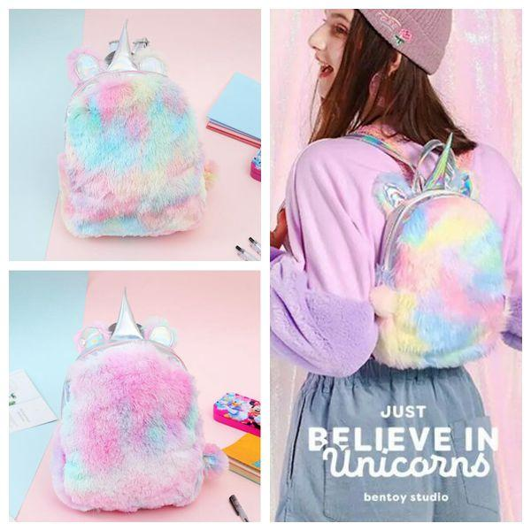 2 Colors Unicorn Plush Backpack Girls Autumn And Winter Color Matching Student Bag Japan and South Korea Travel Outdoor Bag CCA10548 12pcs