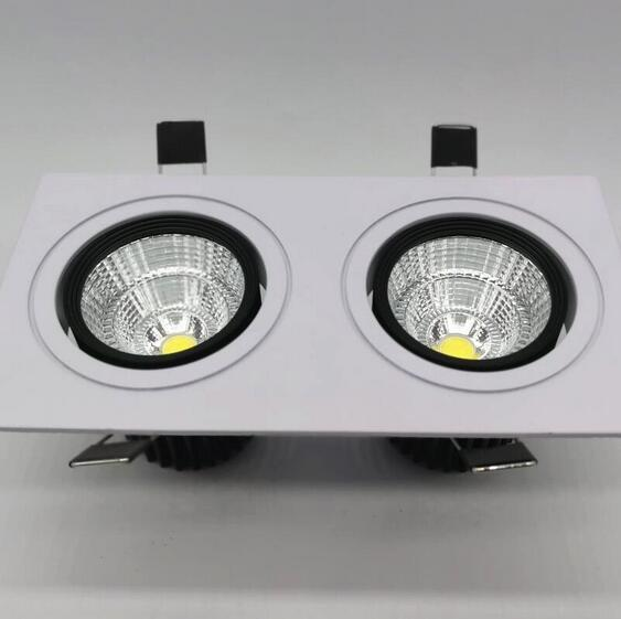 Wholesale Square Bright Recessed Double LED Dimmable Square Downlight COB 2*10W LED Spot light decoration Ceiling Lamp
