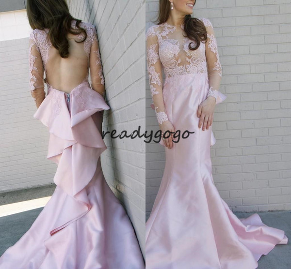 Blush Mermaid Prom Dresses 2018 Long Sleeve Sheer Neck Backless Sweep Train Lace Appliques Cascading Ruffles Long evening Pageant Gowns