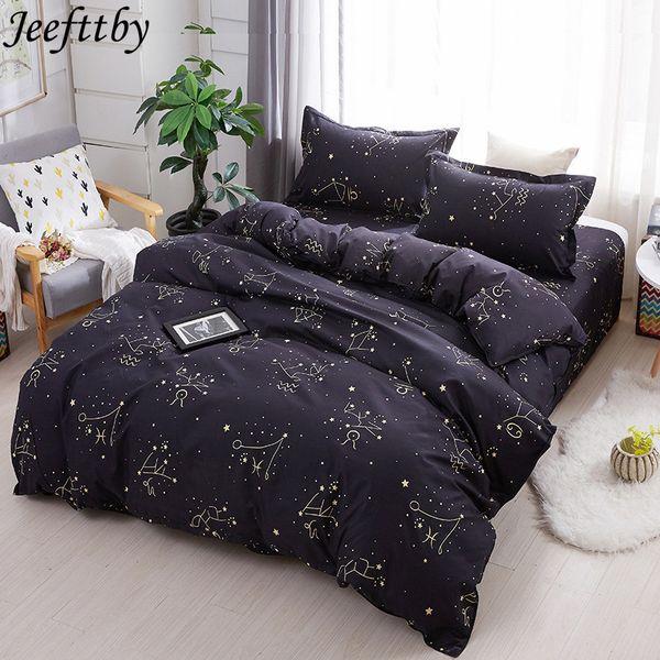 Jeefttby Home Textiles 2018 New Black Night Sky Bed Linen Kid Adult Teen Boy Bedding Sets 3/4Pcs Duvet Cover Pillowcase Sheet