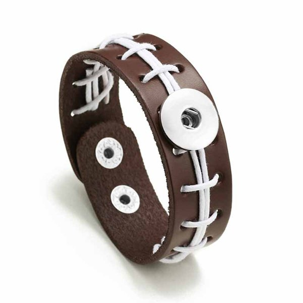 USA Football Bracelet 315 Hand Woven Really Leather Retro Fashion Bracelet 18mm Snap Button Jewelry Charm Jewelry For Women Gift