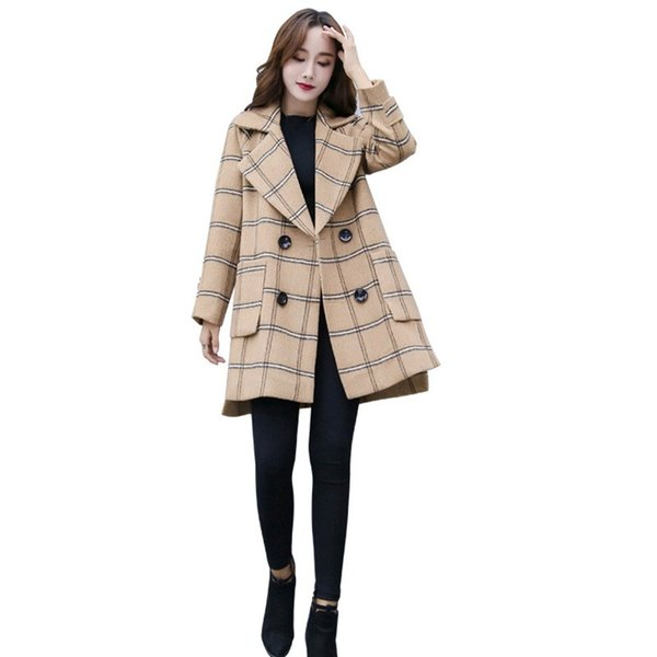 Hot Female Stripe Taschen Mischung Mäntel Herbst Winter Umlegekragen Wolle Oberbekleidung Frauen Zweireiher Losen Mantel