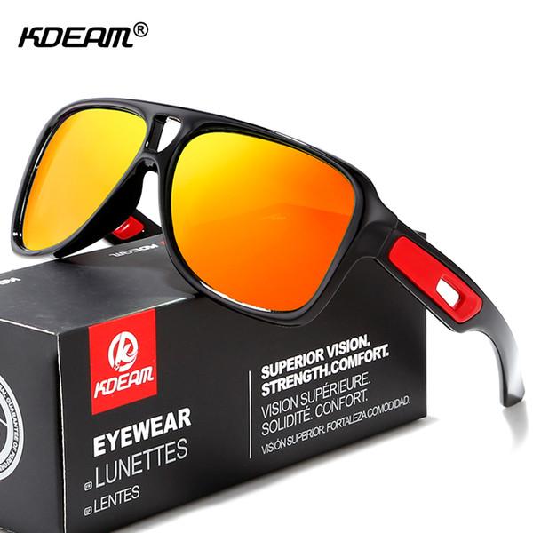 KDEAM Brand Cyclist Sunglasses Polarized Square Men's Sport Sun Glasses lentes de sol Scratch-resistant Lens With Box
