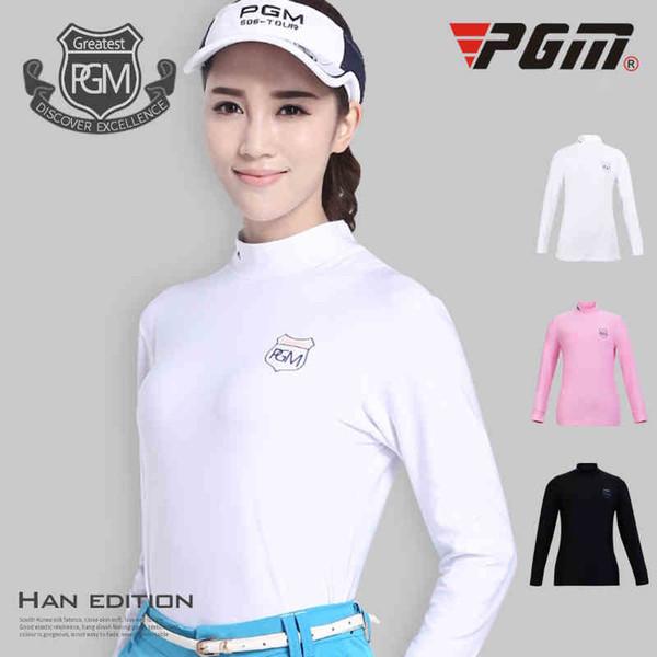 PGM Long Sleeve Golf T-shirts Women Professional Golf Shirts Sportswear Solid Elastic Sport Shirts Women Training Clothing
