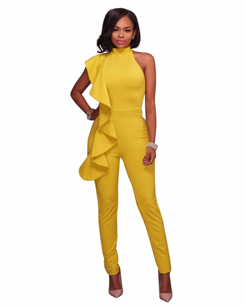 Ladies Fashion Rompers yellow black Sleeveless Womens Wide legs Jumpsuit 2017 Long Pants Elegant Overalls Macacao Feminino S-XL