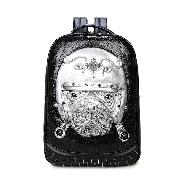 men and women movement Casual tourism backpack 3D Dogs outdoor personality Tide cool waterproof Creativity school bag hidden zipper pocket