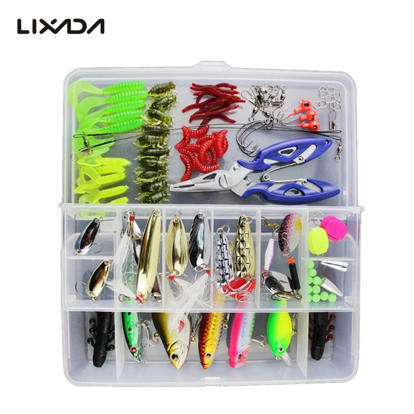 Lixada 73/101/132pcs Fishing Lures Set Mixed Minnow/Popper Spinner Hook Fish Lure Kit with Box Isca Artificial Bait Gear Pesca