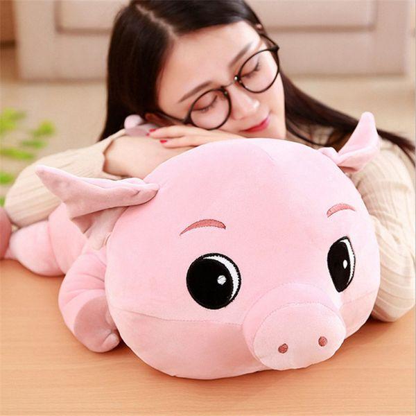 Stuffed Animal Toys Pink Papa Pig Plush Dolls Cartoon Big Eyes Pig Nap Pillows Kids Toy Cute Creative Gifts Peluches Grandes