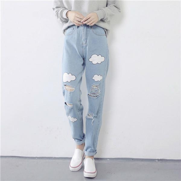2018 New Women Jean Cloud Print Ripped Jeans Cotton Slim Vintage High Waist Denim Boyfriend Cuffs for Female Harem Pants