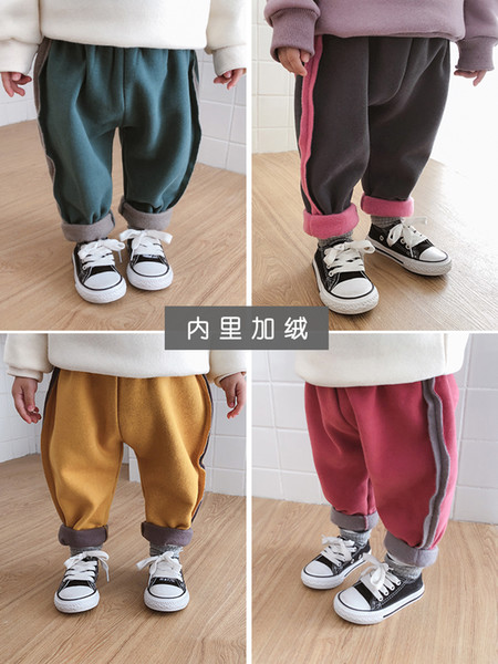 Winter Children New Thickening Sweat Pants Baby Girls Warm Solid Color Plus Velvet Casual Pants
